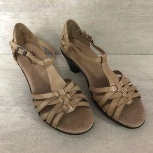 Clarks Bendables Beige Leather Heel Sandals